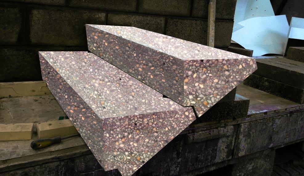 Косоурные ступени из мозаичного бетона
